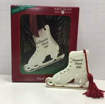 American Greetings Christmas Ornament Treasured Friend 1988 Porcelain Skates - $7.70