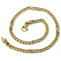 18K YELLOW & WHITE GOLD BRACELET, INFINITY AND GOURMETTE LINK, MADE IN ITALY  image 1