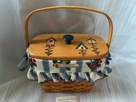 Longaberger 1995 Dresden Tour Basket Combo Birdhouse Wood Lid, Fabric Li... - $51.41