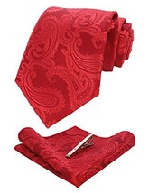 JEMYGINS Red Paisley Silk Tie and Pocket Square, Necktie with Tie Clip Sets for