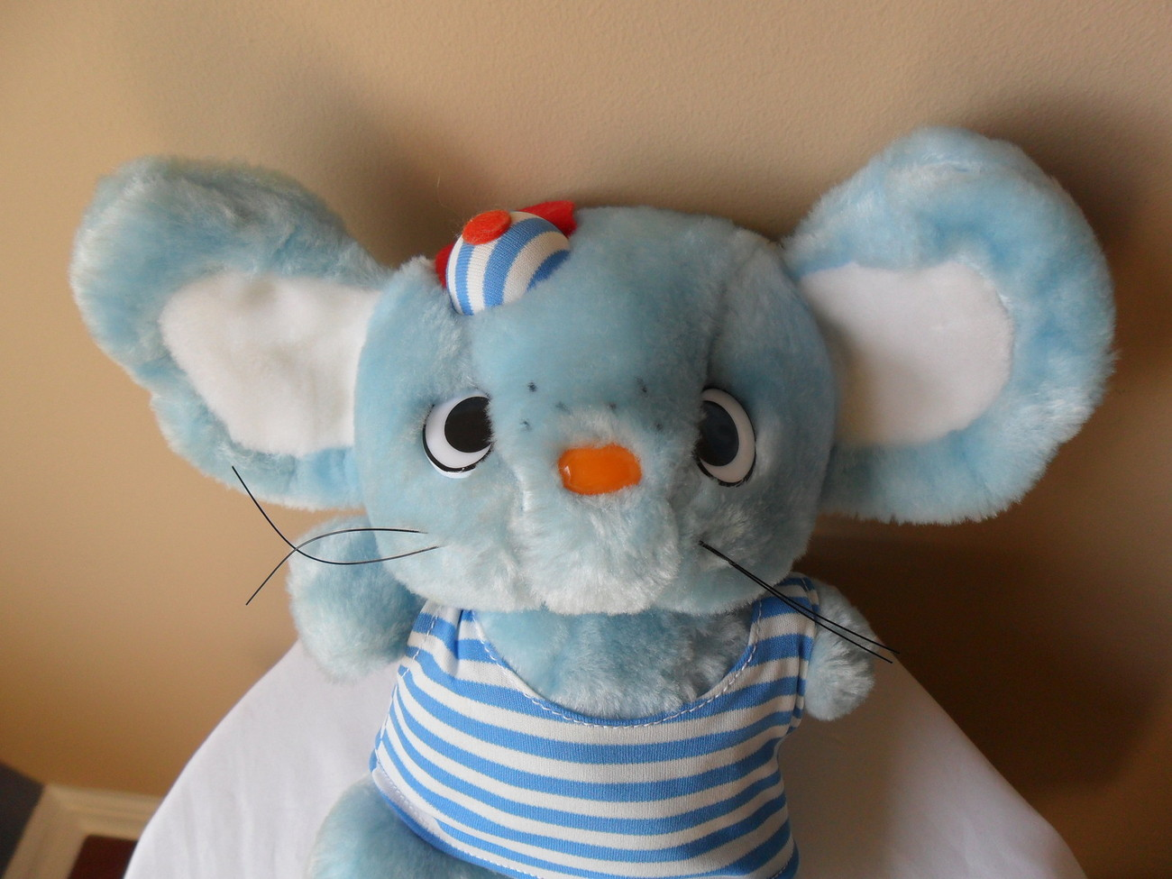 "SANRIO Mouse Plush 1986"" Vintage 11"" Tall Blue Striped w/cap Hard To Find!!"