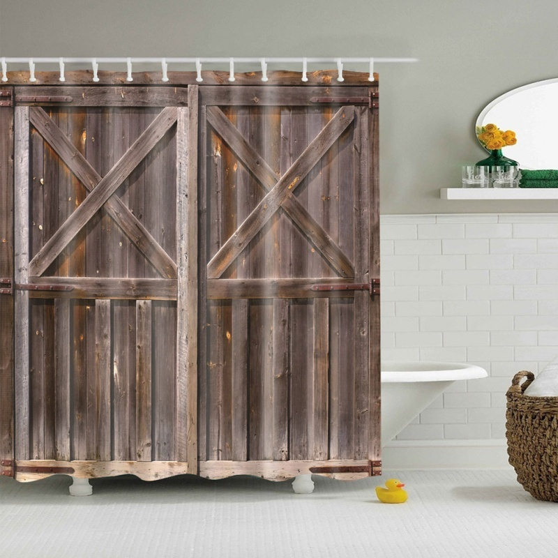 180*180CM New Rustic Shower Curtain Old Wooden Barn Door of Farmhouse Oak Countr