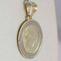 Oval Medal Pendant Gold Yellow White 750 18k Virgin Mary and Jesus, Madonna image 10
