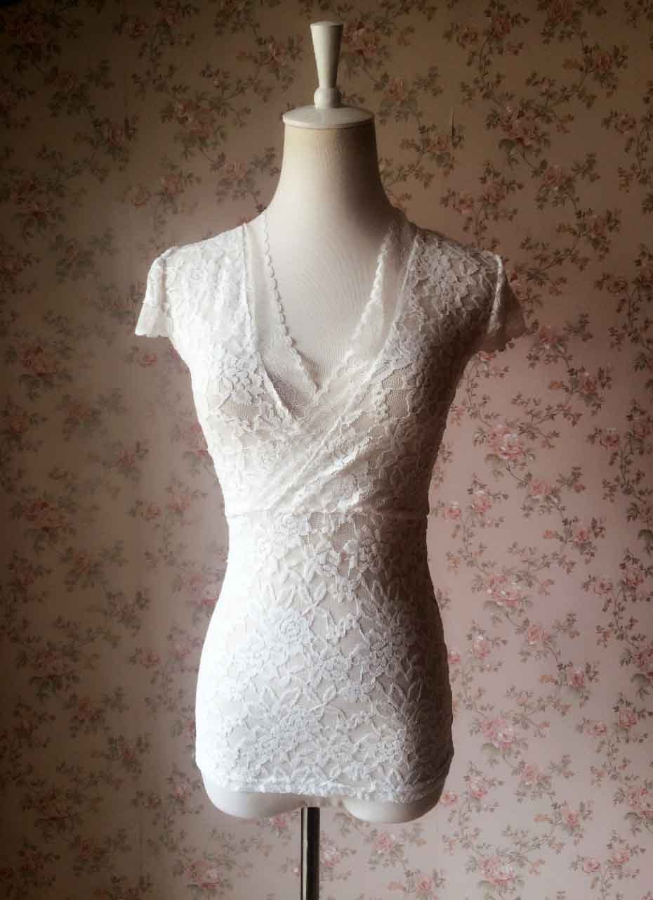 Ivory White LACE TOPS  Women Cap Sleeve Floral Lace Tops Plus Size Lace Tops