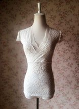 Ivory White LACE TOP  Cap Sleeve V-Neck Bridesmaid Lace Top Plus Size image 2