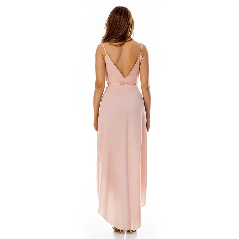 Romance Pink V Back And Neck Asymmetrical Wrap Dress - Free Shipping in US