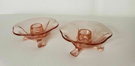 2 Pink Depression Glass candlestick holders by Fostoria in the Fairfax P... - $34.95