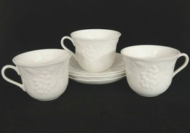 Wedgwood Strawberry & Vine Lot of 3 Cups Saucers White Embossed Fruit En... - $29.69