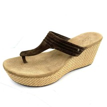 UGG Australia 'Zamora' Espresso Suede Wicker Wedge Thong Sandals Size 9 US  - $34.64