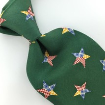 Structure Us Made Lone Stars Green Blue Silk Men Necktie H3-376 Excellent Ties - $15.83