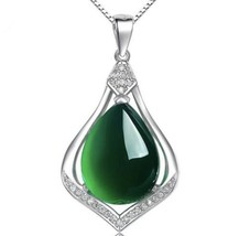 925 Sterling Silver Natural Jade Water Drop Pendant Necklace [PEN-201] - $35.64