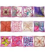 LilMents 12 Mixed Designs Small Square Satin Womens Neck Head Scarf Scar... - $32.91