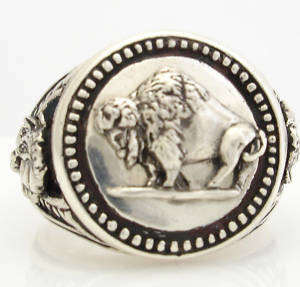 Buffalo Nickel Mens Coin ring Sterling Silver