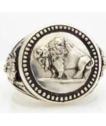 Buffalo Nickel Mens Coin ring Sterling Silver - $93.00