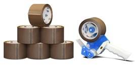 "Hotmelt Carton Sealing Packaging Tape + 3"" Dispenser - Tan/Brown, 6 Roll... - $38.17"