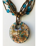 "Dichroic Glass Pendant Necklace with Multi-Strand Seed & Other Beads 20"" - $11.97"
