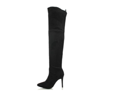 Wild Diva Akira Faux Suede Thigh High Pointy Toe Stiletto Boot 9 Women Black - $38.56