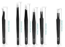 Precision ESD Tweezers, Anti-Static ESD Tweezers Set 6 Pieces