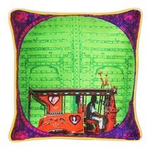 Fatfatiya Poly Dupion Multicolor Splash of Green Poli Dupion Cushion Cover - $35.00