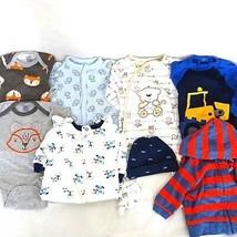 Lot of 8 Baby Boy Size Newborn Gerber Carters Bodysuits Fox Dog Monkey C... - $19.79