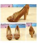 Michael Kors 6M 6 M Brown Suede Leather Fringe Trim Moccasin Style Heels Shoes  - $34.64