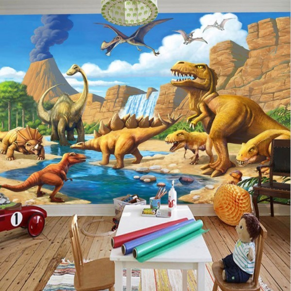 3D Cartoon Dinosaurs Lake Volcano Scene Wallpaper Tyrannosaurus Rex Wall Mural, used for sale  USA