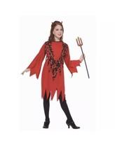 Devil Girls Dress with horns Child cosplay Medium NEW Halloween Costume - $17.82