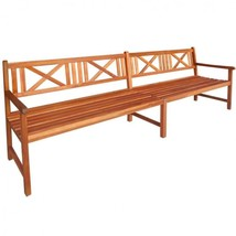 Garden Bench Wooden Chairs Brown Backrest Slats Seat Patio Armrest Cathedra - €205,14 EUR