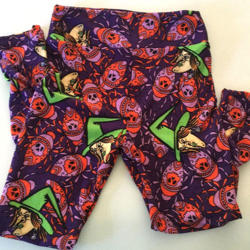 Lularoe Halloween Tween XS WITCH SPIDER Green Purple Orange Leggings Stretch
