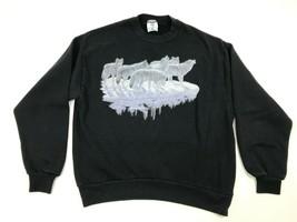 Vtg 90s JERZEES Sweatshirt 50/50 Black Crewneck HOWLING Wolves Wolf L US... - $16.83