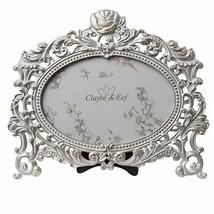 Oval Blumenranke Vintage Stil Metallisch Bilderrahmen 20cm X 18cm - $26.74