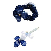 [Blue] 2 PCS Flower Hair Styling Tool Barrettes & Ponytail Holders Hair Clips