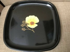 Vintage Mid Century Mod Couroc of Monterey California Poppy Footed Tray Lot Of 3 - $59.95