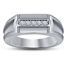 Solid White Gold Plated 925 Silver Round Cut Diamond Men's Five Stone Band Ring - $82.99