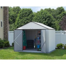 Storage Shed Cream Charcoal Trim High Gable 10 x 8 Double Door Outdoor G... - $553.71