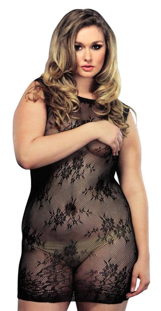 NEW LEG AVENUE WOMEN'S SEXY LINGERIE LACE CAMISOLE DRESS PLUS SIZE BLACK 87043Q