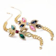 Imitated Jewelry Charm Bracelet Rhinestone Crystal Gold Color Chain Chunky - $12.10