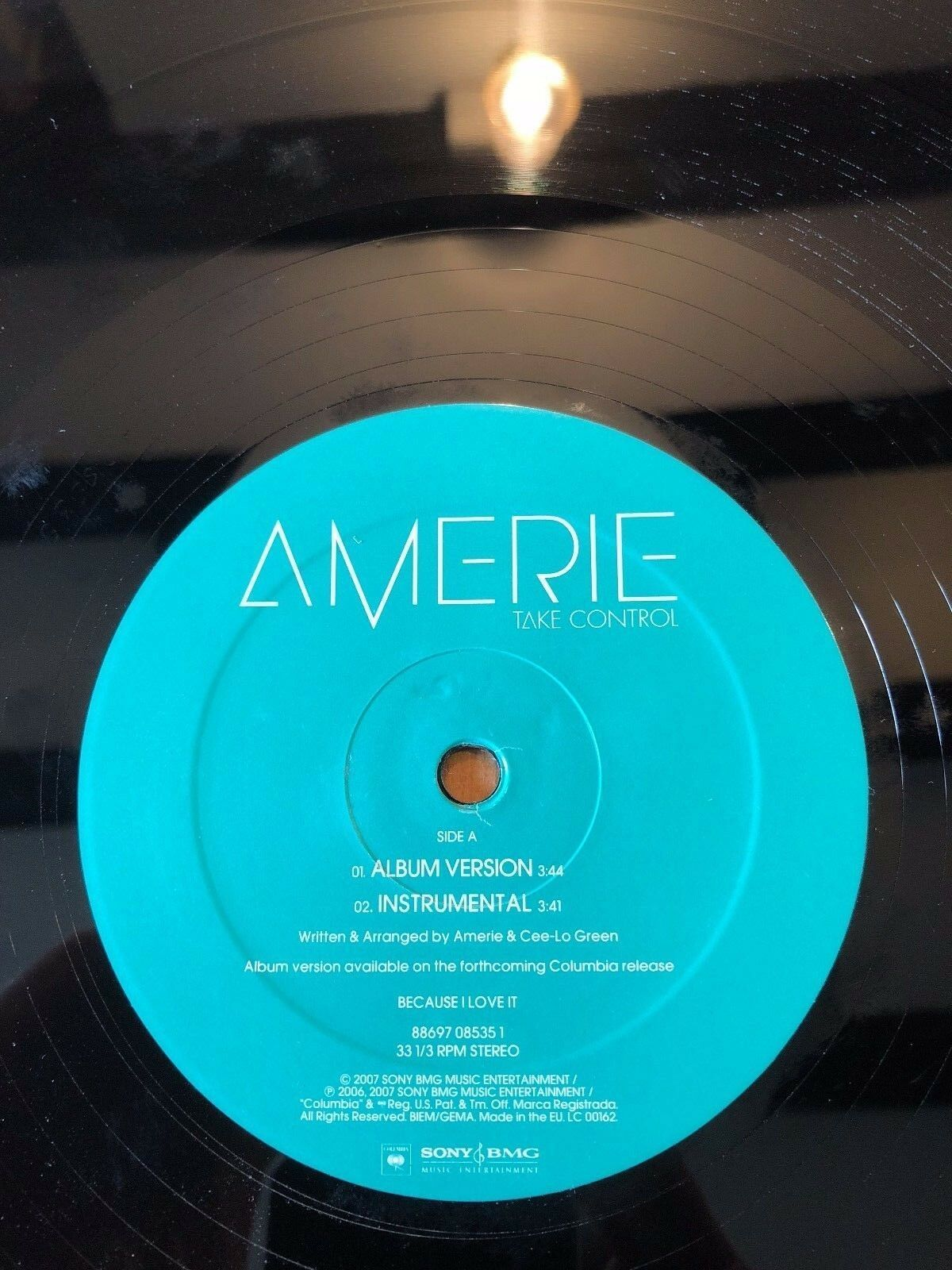 "2007 AMERIE ""TAKE CONTROL"" VINYLE 30.5cm UNIQUE RECORD"