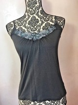 H&M Top S Cami Tank Gray SEXY Soft Stretch Spaghetti Straps Lace Sequins - $5.93