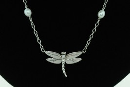 """TIFFANY & CO. 18K White Gold Dragonfly Pearl Chain Necklace with Diamonds (17""""+) - $1,650.00"""