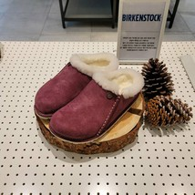 BIRKENSTOCK Zermatt Fur Wine Women's Slide Sandals Narrow Fit RFSO1F223R3 - $261.81
