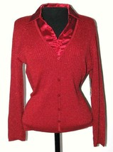 Jm Collection Womens  Sweater Top Blouse Petite Small J M  PS New Tag Red - $38.68