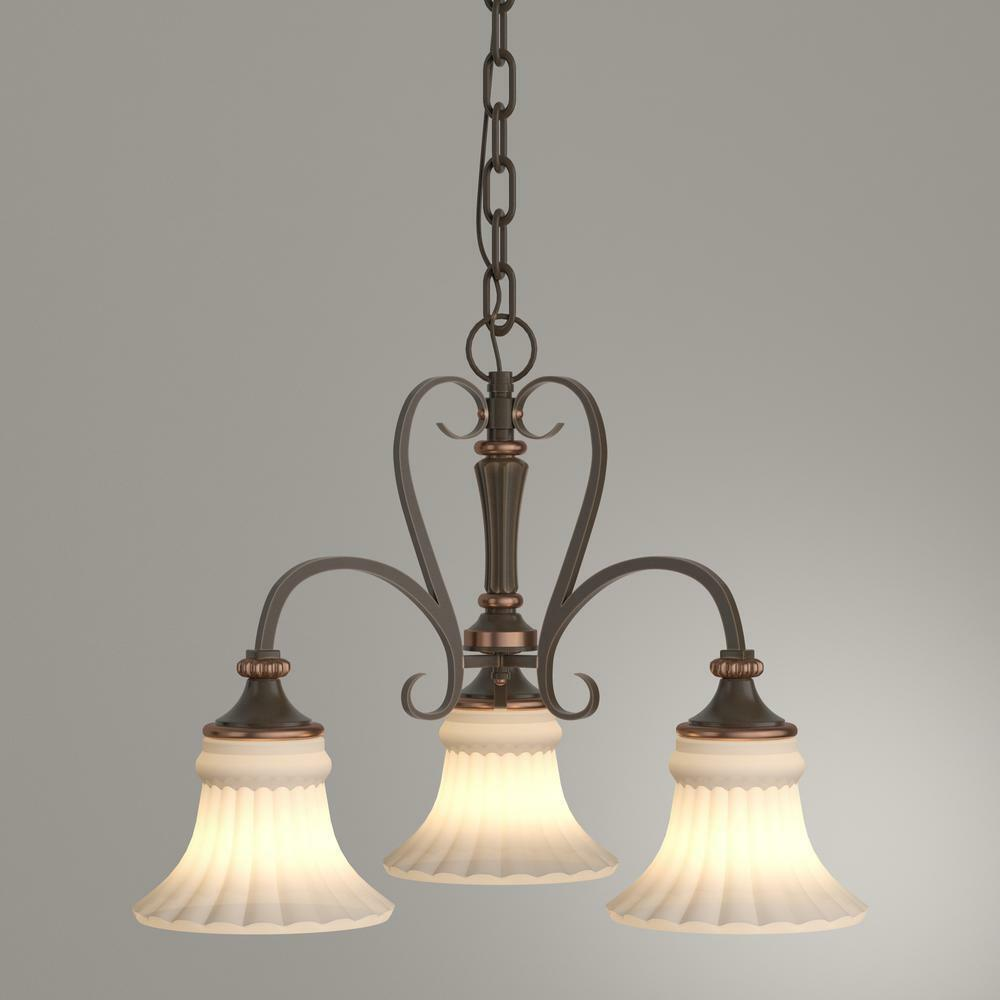 Primary image for Hampton Bay Reims 3-Light Berre Walnut Chandelier with Driftwood Glass Shade