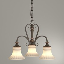 Hampton Bay Reims 3-Light Berre Walnut Chandelier with Driftwood Glass Shade - $54.40