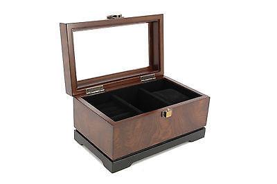 WOOD Executive Cufflink Case & watch Storage Organizer Men's Jewelry Box New