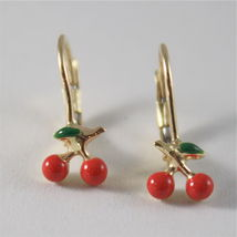 SOLID 18K YELLOW GOLD PENDANT EARRINGS WITH CHERRY, LEVERBACK, MADE IN ITALY image 3