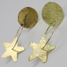 18K YELLOW GOLD FINELY WORKED AND HAMMERED PENDANT DISC, STAR & CIRCLE EARRINGS image 5