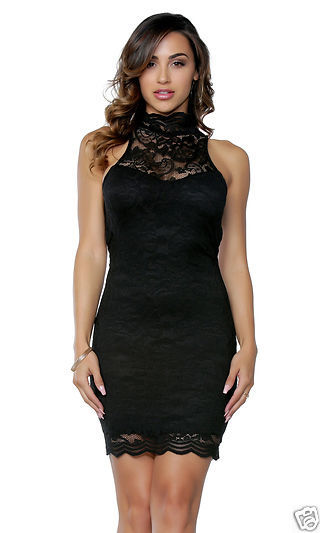 Forplay Lauren Lace Mock Neck Mini Dress ~ Black, White or Peach