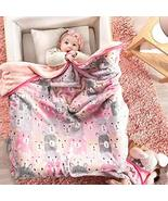 DreamPartyWorld Pink Bears Baby Blanket with Sherpa Crib Size Soft and W... - $49.45