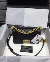 NWT Auth Chanel 2019 Chevron Quilted Leather Black Small Boy Flap Bag Matte GHW